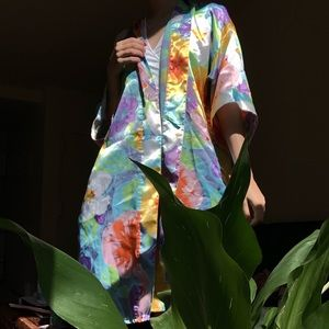 Floral silky robe
